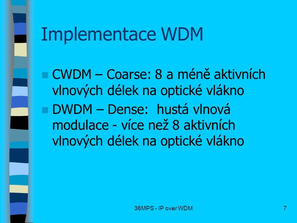 Implementace WDM CWDM – Coarse: 8 a méně aktivních vlnových délek na optické vlákno.