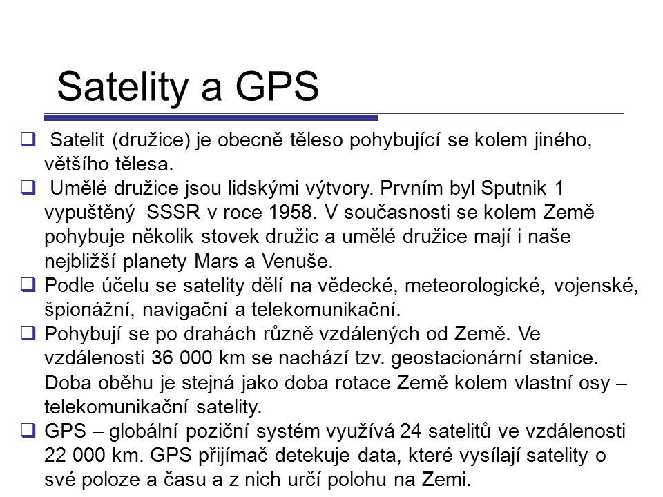 Satelity a GPS Satelit (družice) je obecně těleso pohybující se kolem jiného, většího tělesa.