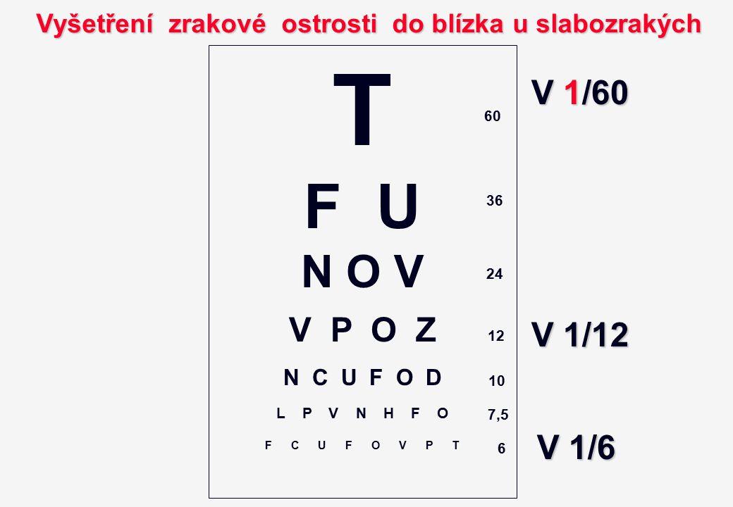 Vyšetření zrakové ostrosti do blízka u slabozrakých