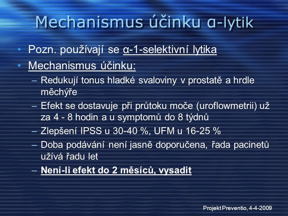 Mechanismus účinku α-lytik