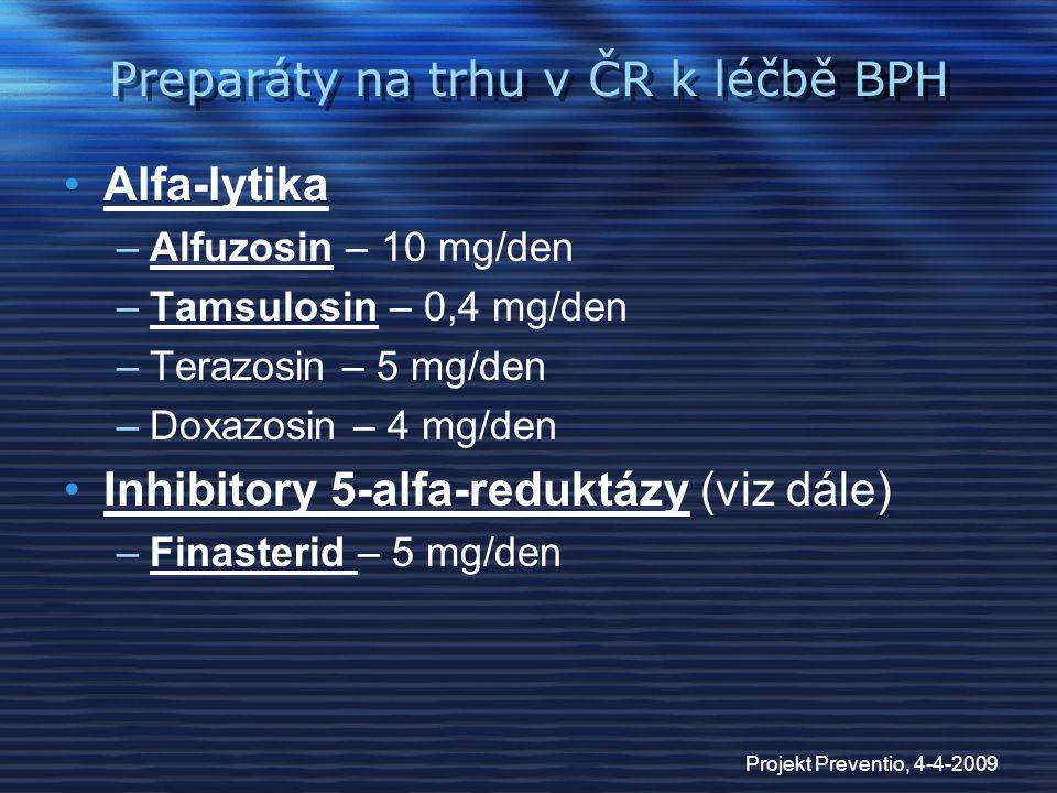 Preparáty na trhu v ČR k léčbě BPH