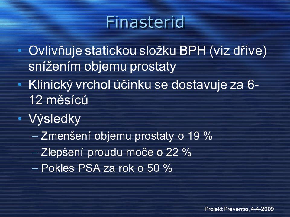 Finasterid Ovlivňuje statickou složku BPH (viz dříve) snížením objemu prostaty. Klinický vrchol účinku se dostavuje za 6-12 měsíců.