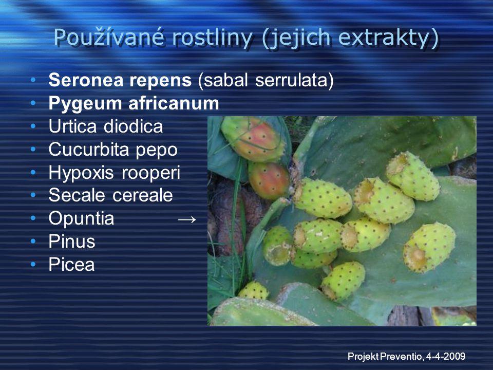 Používané rostliny (jejich extrakty)