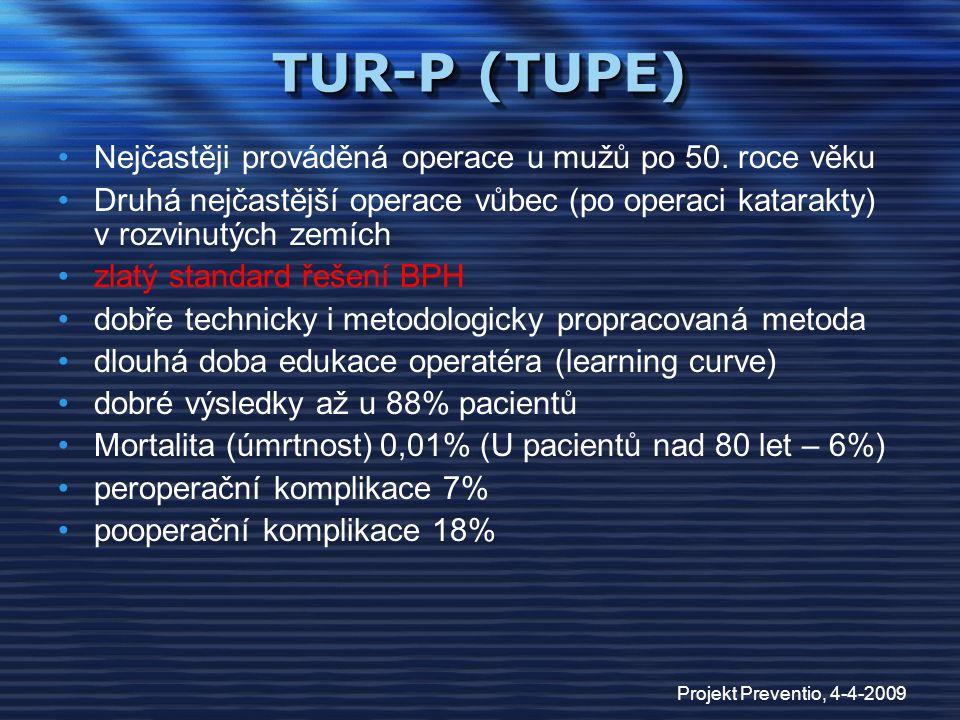 TUR-P (TUPE) Nejčastěji prováděná operace u mužů po 50. roce věku