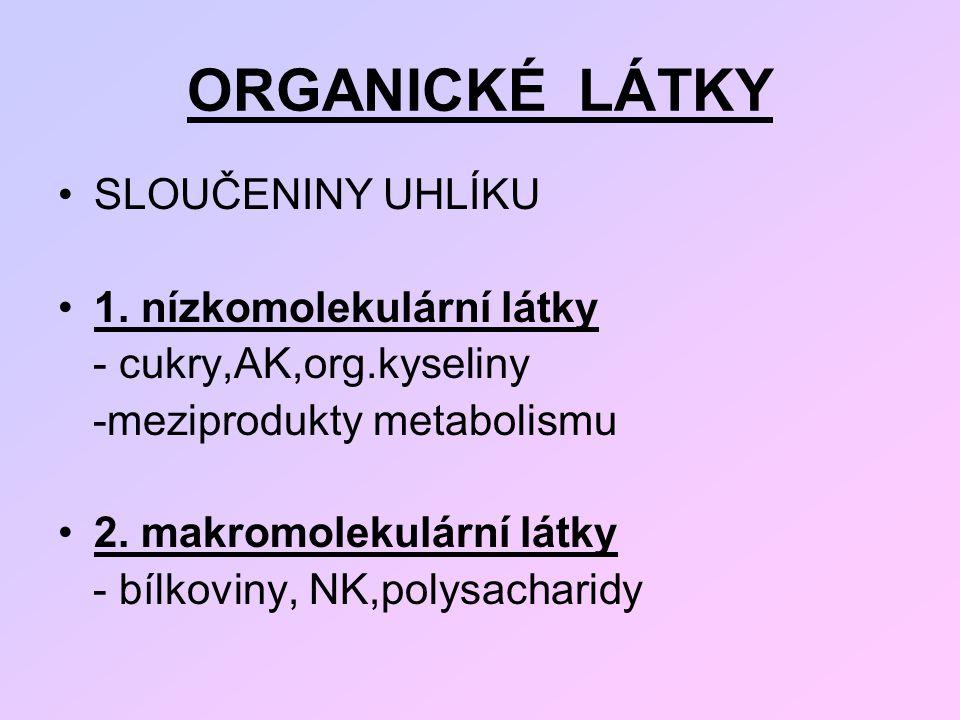 ORGANICKÉ LÁTKY SLOUČENINY UHLÍKU 1. nízkomolekulární látky