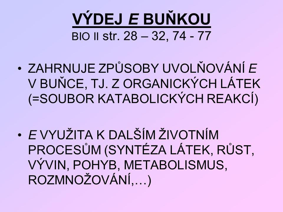 VÝDEJ E BUŇKOU BIO II str. 28 – 32, 74 - 77