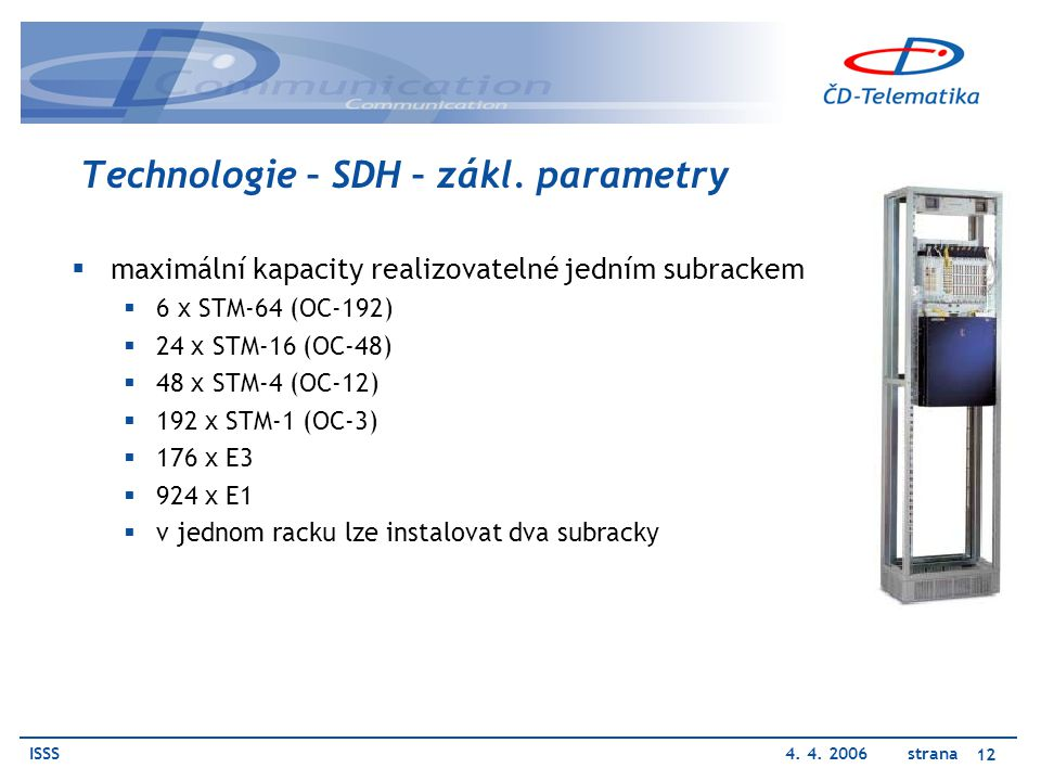 Technologie – SDH – zákl. parametry