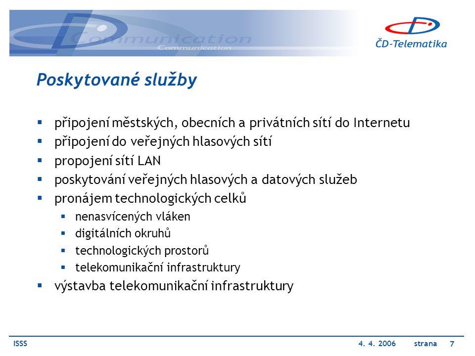 Poskytované služby připojení městských, obecních a privátních sítí do Internetu. připojení do veřejných hlasových sítí.