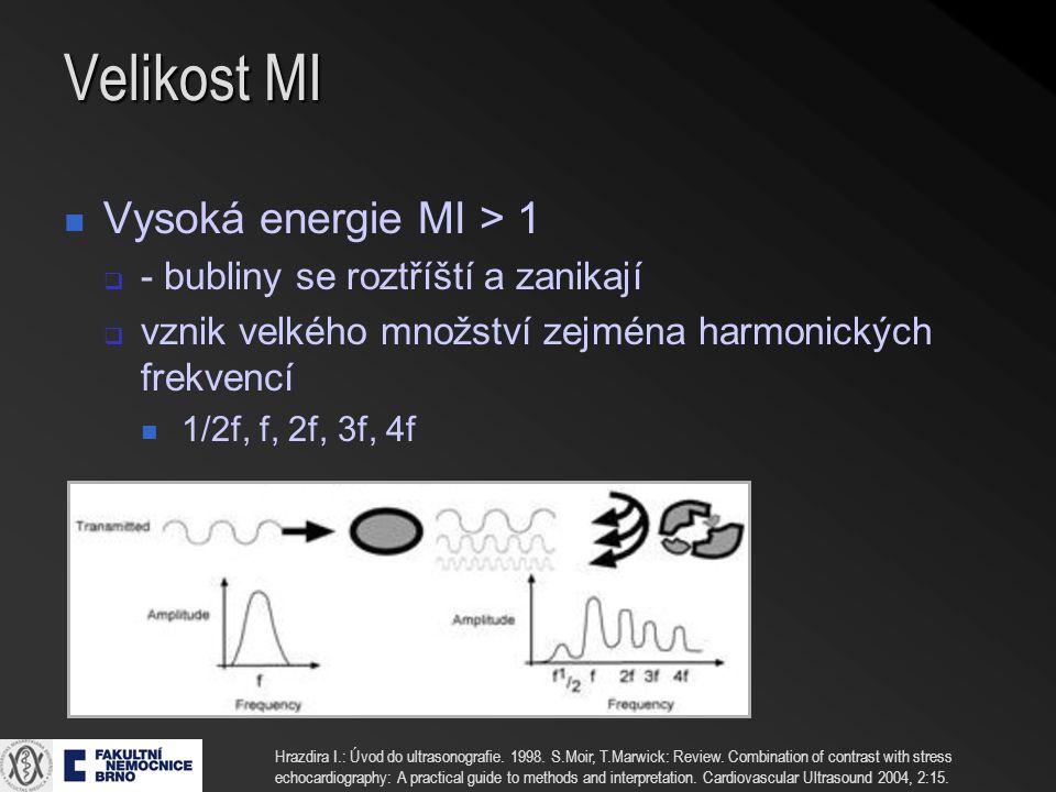 Velikost MI Vysoká energie MI > 1 - bubliny se roztříští a zanikají