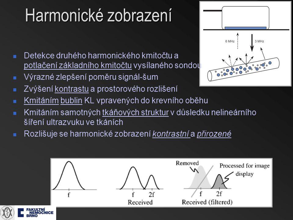 Harmonické zobrazení Detekce druhého harmonického kmitočtu a potlačení základního kmitočtu vysílaného sondou.