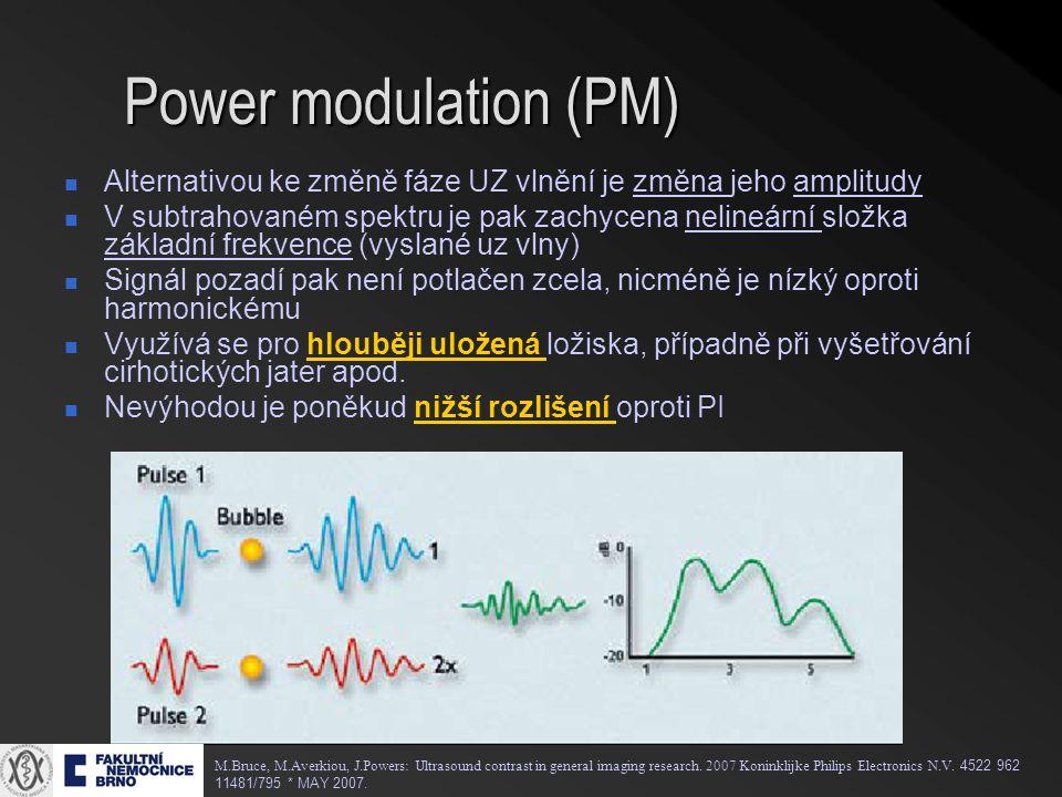 Power modulation (PM) Alternativou ke změně fáze UZ vlnění je změna jeho amplitudy.