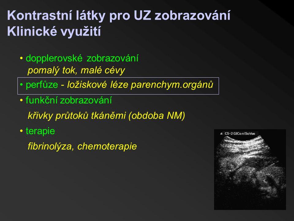 Kontrastní látky pro UZ zobrazování Klinické využití