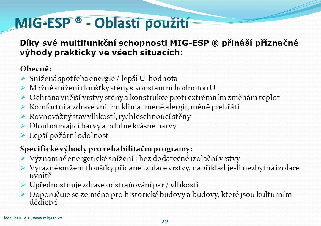 MIG-ESP ® - Oblasti použití