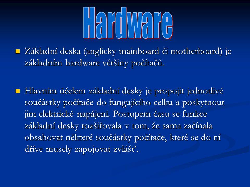Hardware Základní deska (anglicky mainboard či motherboard) je základním hardware většiny počítačů.