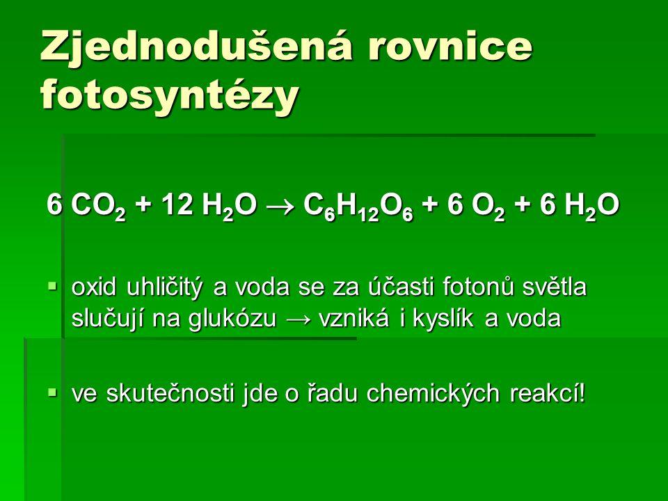 Zjednodušená rovnice fotosyntézy