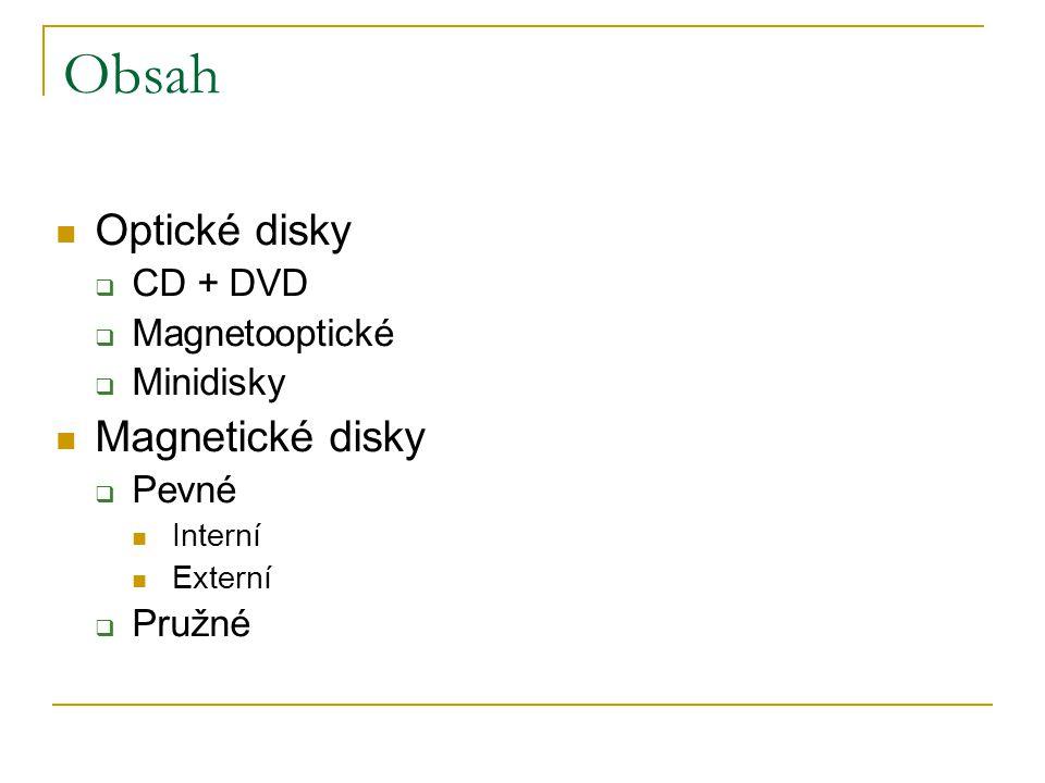 Obsah Optické disky Magnetické disky CD + DVD Magnetooptické Minidisky