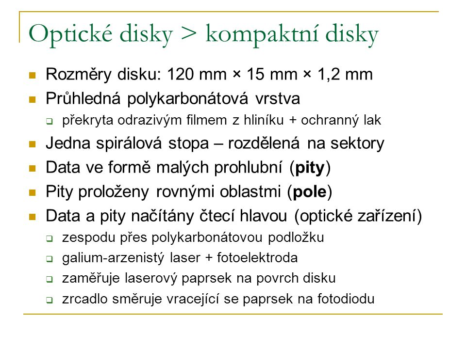 Optické disky > kompaktní disky