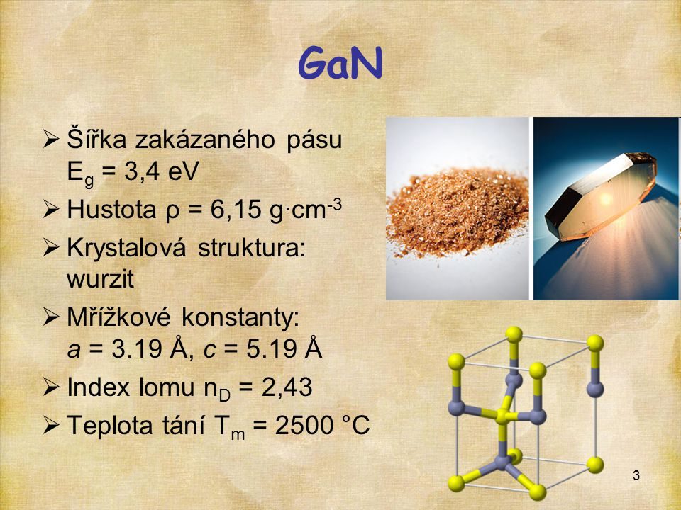 GaN Šířka zakázaného pásu Eg = 3,4 eV Hustota ρ = 6,15 g·cm-3