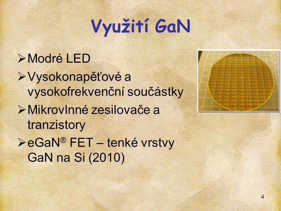 Využití GaN Modré LED Vysokonapěťové a vysokofrekvenční součástky
