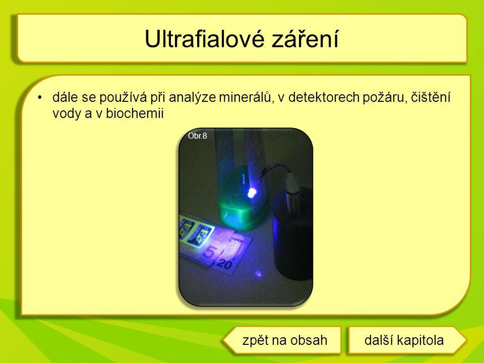 Ultrafialové záření dále se používá při analýze minerálů, v detektorech požáru, čištění vody a v biochemii.