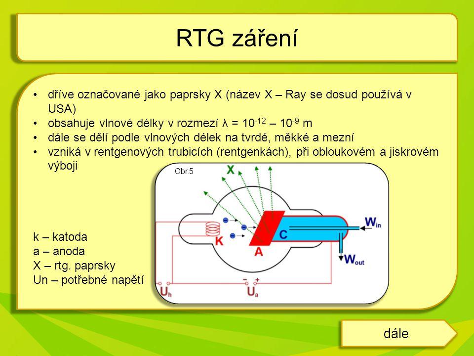 RTG záření dříve označované jako paprsky X (název X – Ray se dosud používá v USA) obsahuje vlnové délky v rozmezí λ = 10-12 – 10-9 m.