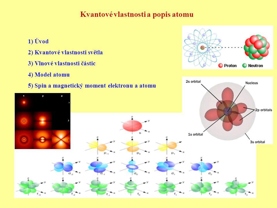 Kvantové vlastnosti a popis atomu