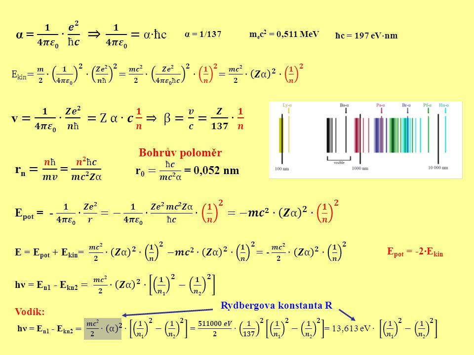 v = 𝟏 𝟒𝝅𝜺𝟎 ∙ 𝒁𝒆𝟐 𝒏ħ = Z α∙𝒄 𝟏 𝒏 ⇒ β= 𝒗 𝒄 = 𝒁 𝟏𝟑𝟕 ∙ 𝟏 𝒏