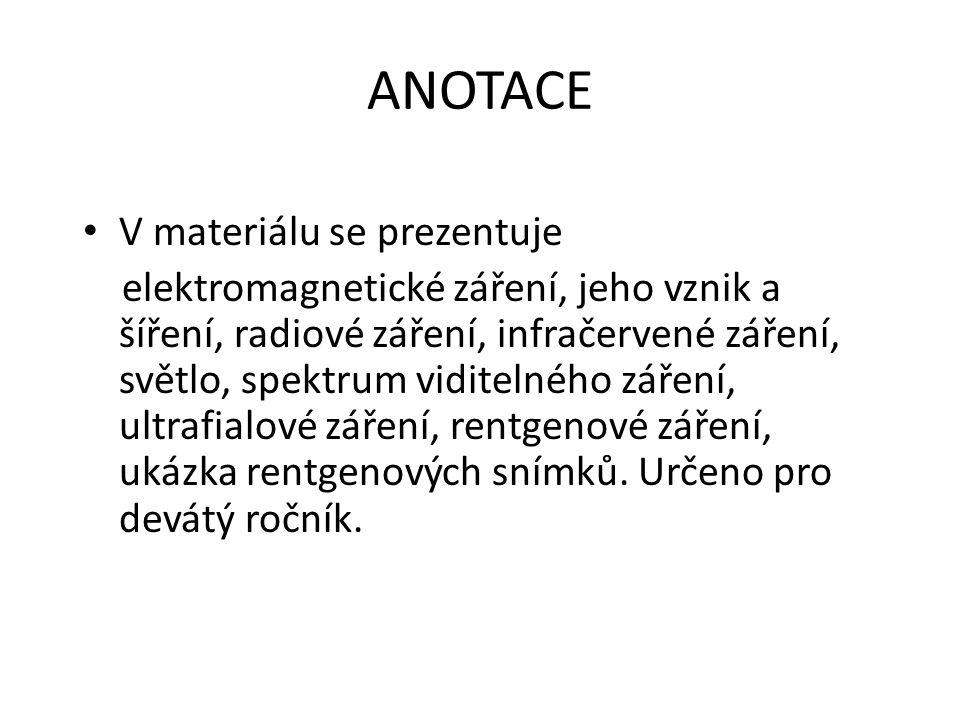 ANOTACE V materiálu se prezentuje