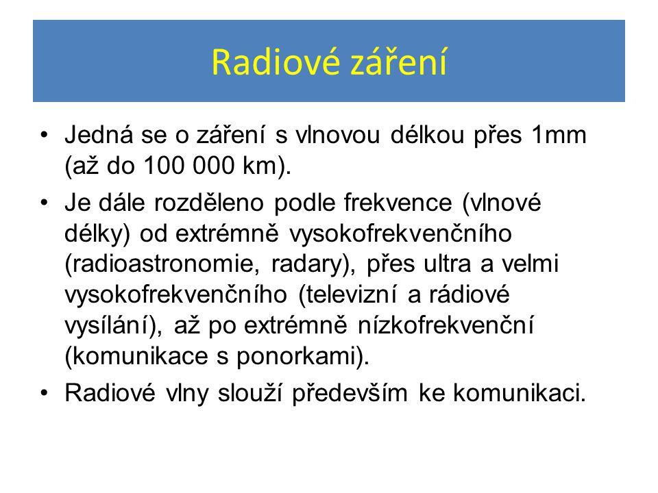 Radiové záření Jedná se o záření s vlnovou délkou přes 1mm (až do 100 000 km).