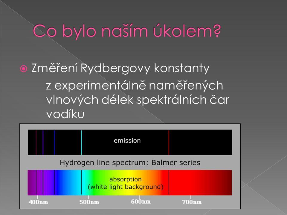 Co bylo naším úkolem Změření Rydbergovy konstanty