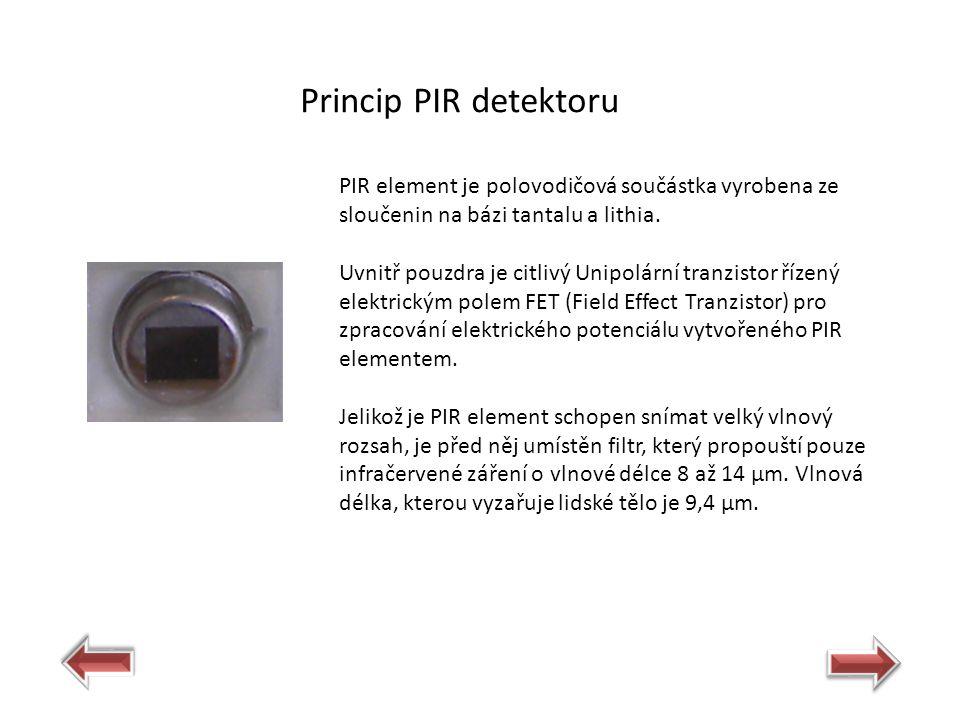 Princip PIR detektoru PIR element je polovodičová součástka vyrobena ze sloučenin na bázi tantalu a lithia.