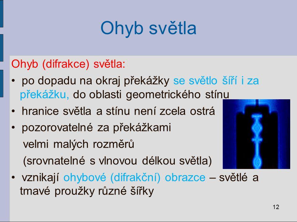 Ohyb světla Ohyb (difrakce) světla: