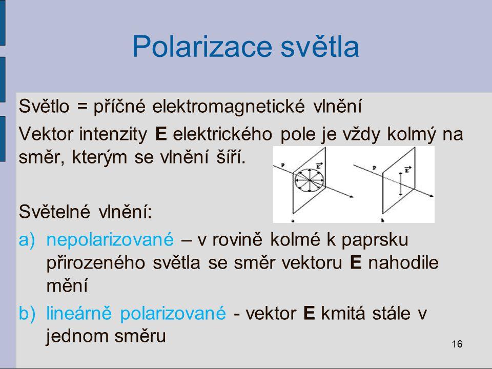 Polarizace světla Světlo = příčné elektromagnetické vlnění