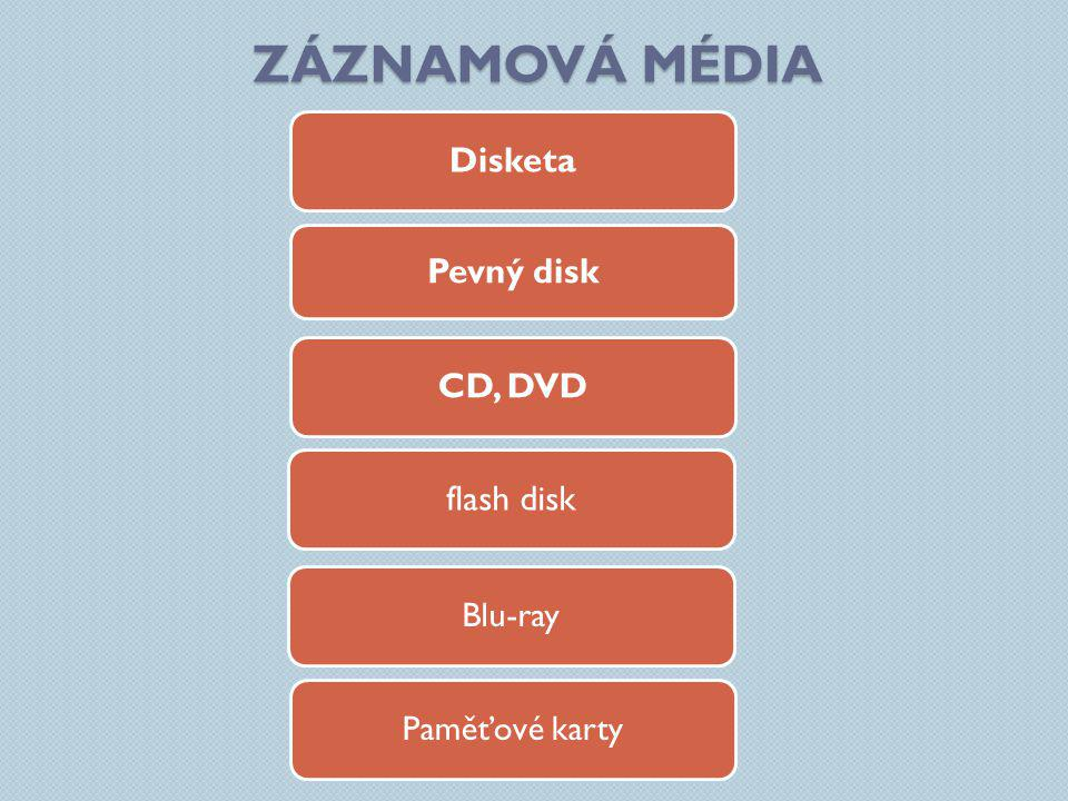 Záznamová média Disketa Pevný disk CD, DVD flash disk Blu-ray
