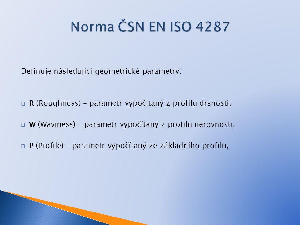 Norma ČSN EN ISO 4287 Definuje následující geometrické parametry: