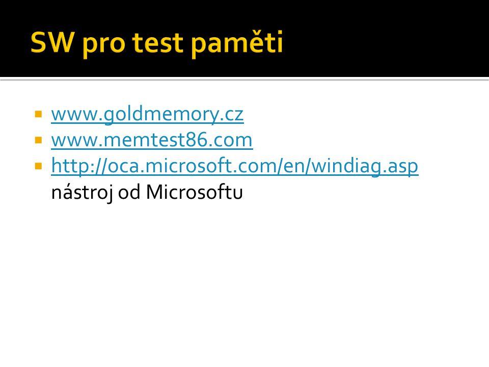 SW pro test paměti www.goldmemory.cz www.memtest86.com