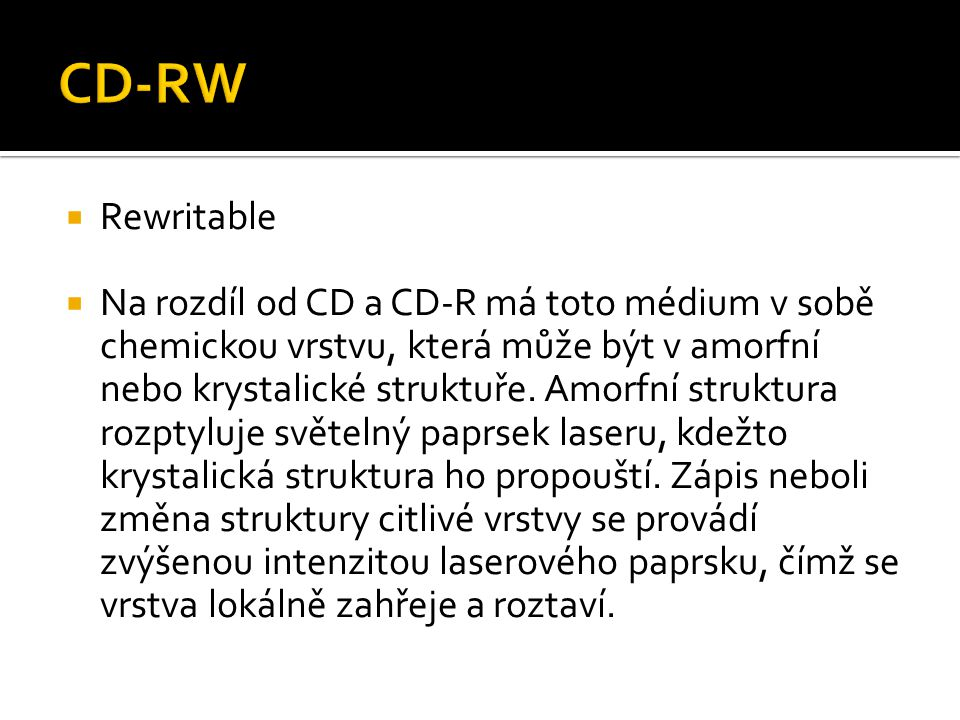 CD-RW Rewritable.