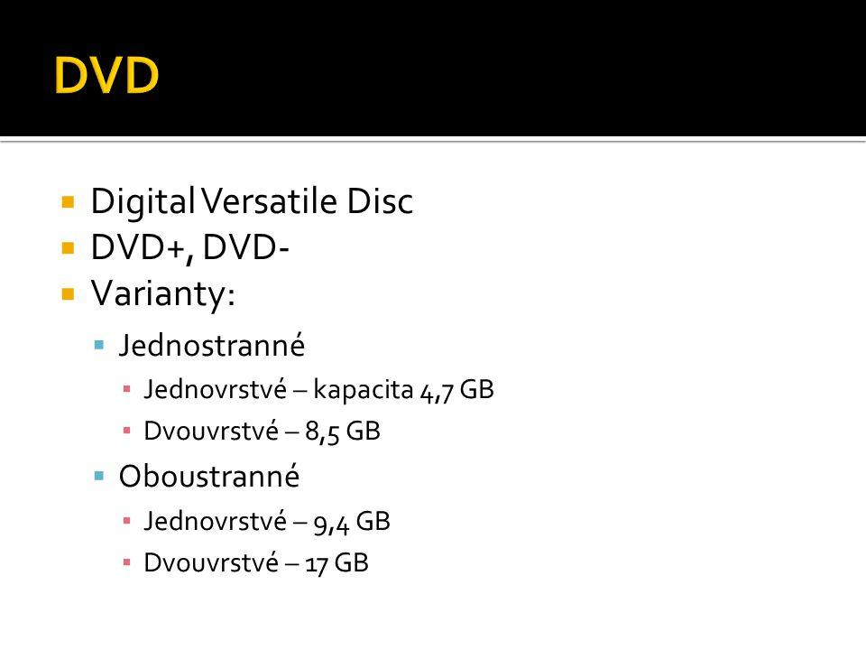 DVD Digital Versatile Disc DVD+, DVD- Varianty: Jednostranné