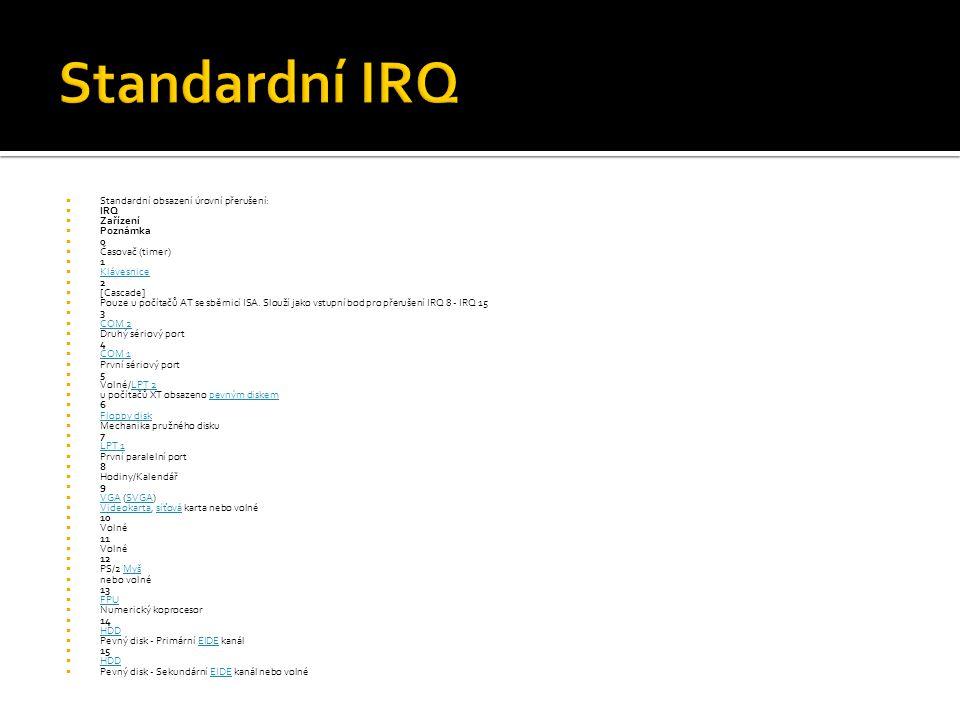 Standardní IRQ Standardní obsazení úrovní přerušení: IRQ Zařízení