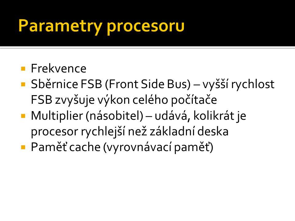 Parametry procesoru Frekvence