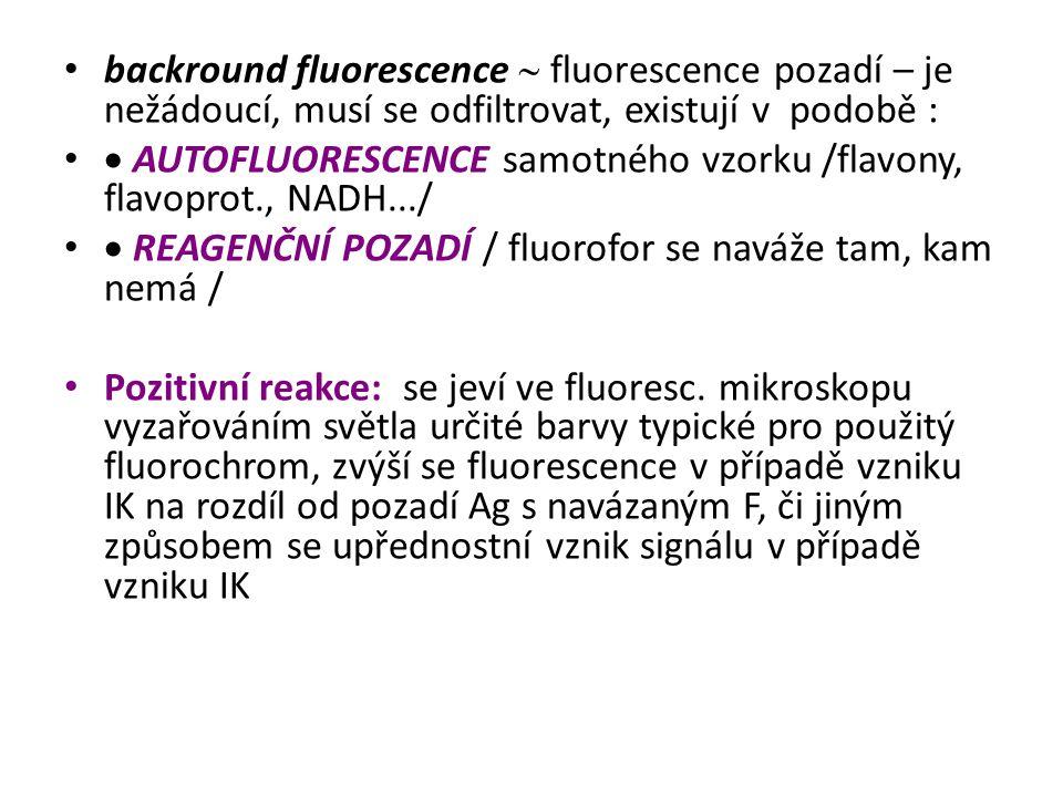 backround fluorescence  fluorescence pozadí – je nežádoucí, musí se odfiltrovat, existují v podobě :