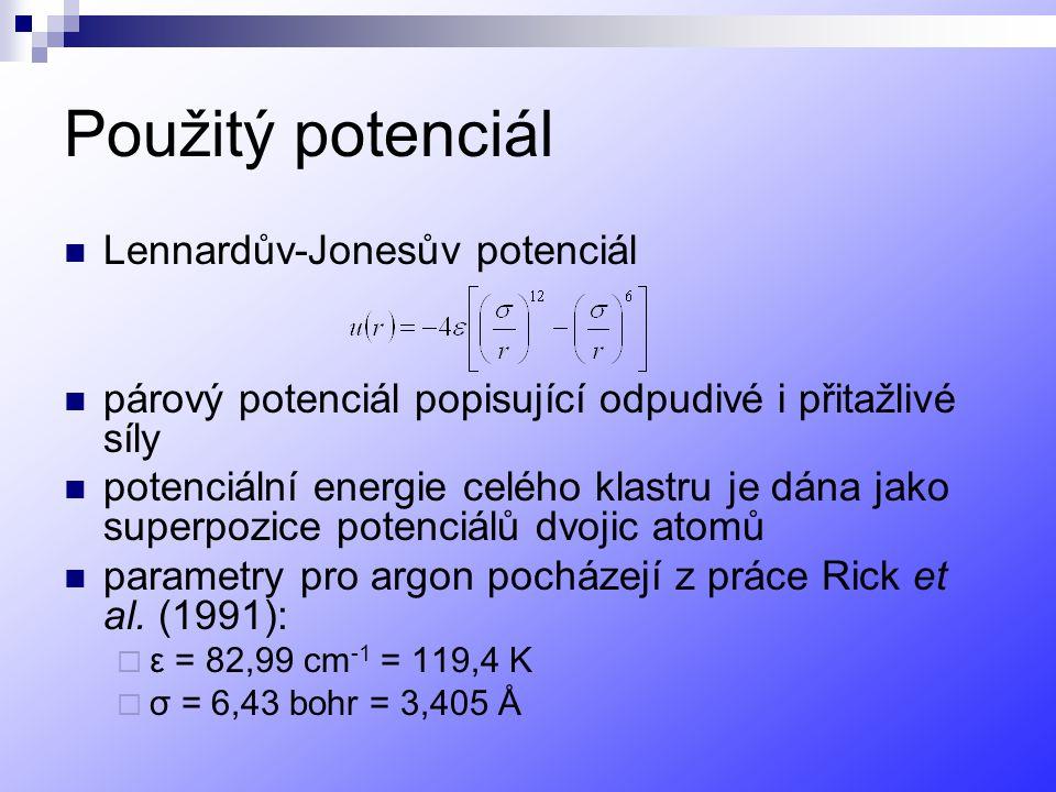 Použitý potenciál Lennardův-Jonesův potenciál