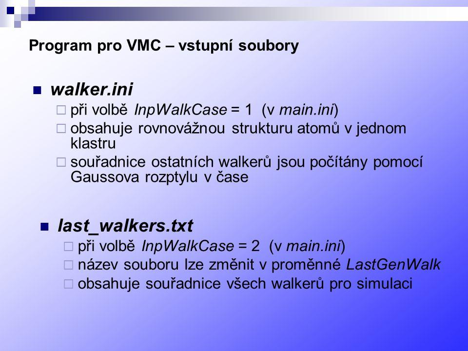 Program pro VMC – vstupní soubory