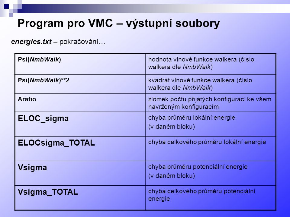 Program pro VMC – výstupní soubory