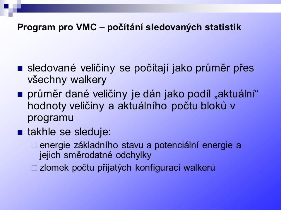 Program pro VMC – počítání sledovaných statistik