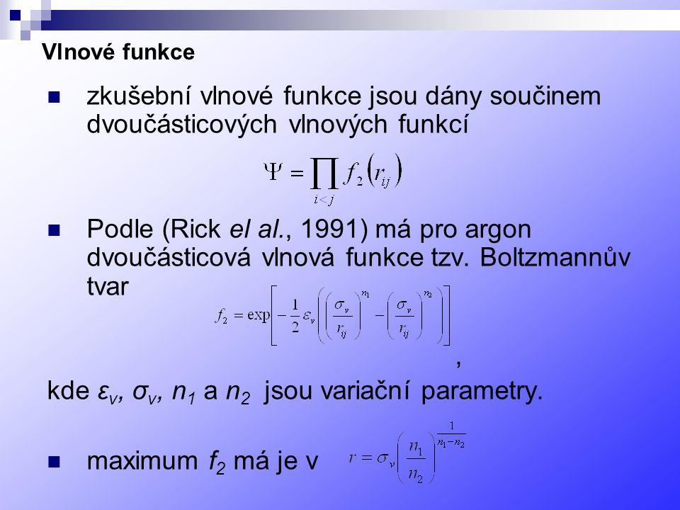 kde εv, σv, n1 a n2 jsou variační parametry. maximum f2 má je v
