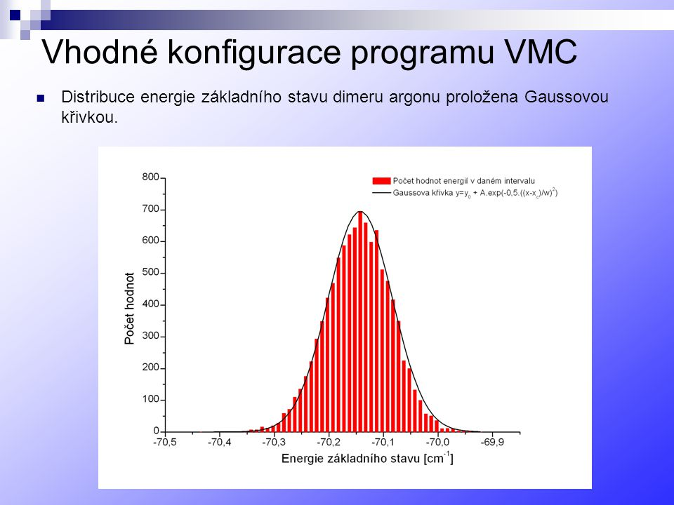 Vhodné konfigurace programu VMC
