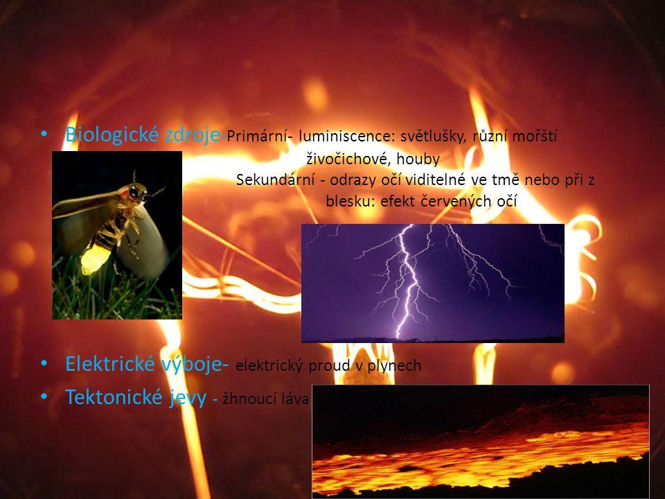Biologické zdroje-Primární- luminiscence: světlušky, různí mořští