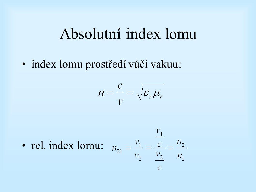 Absolutní index lomu index lomu prostředí vůči vakuu: rel. index lomu: