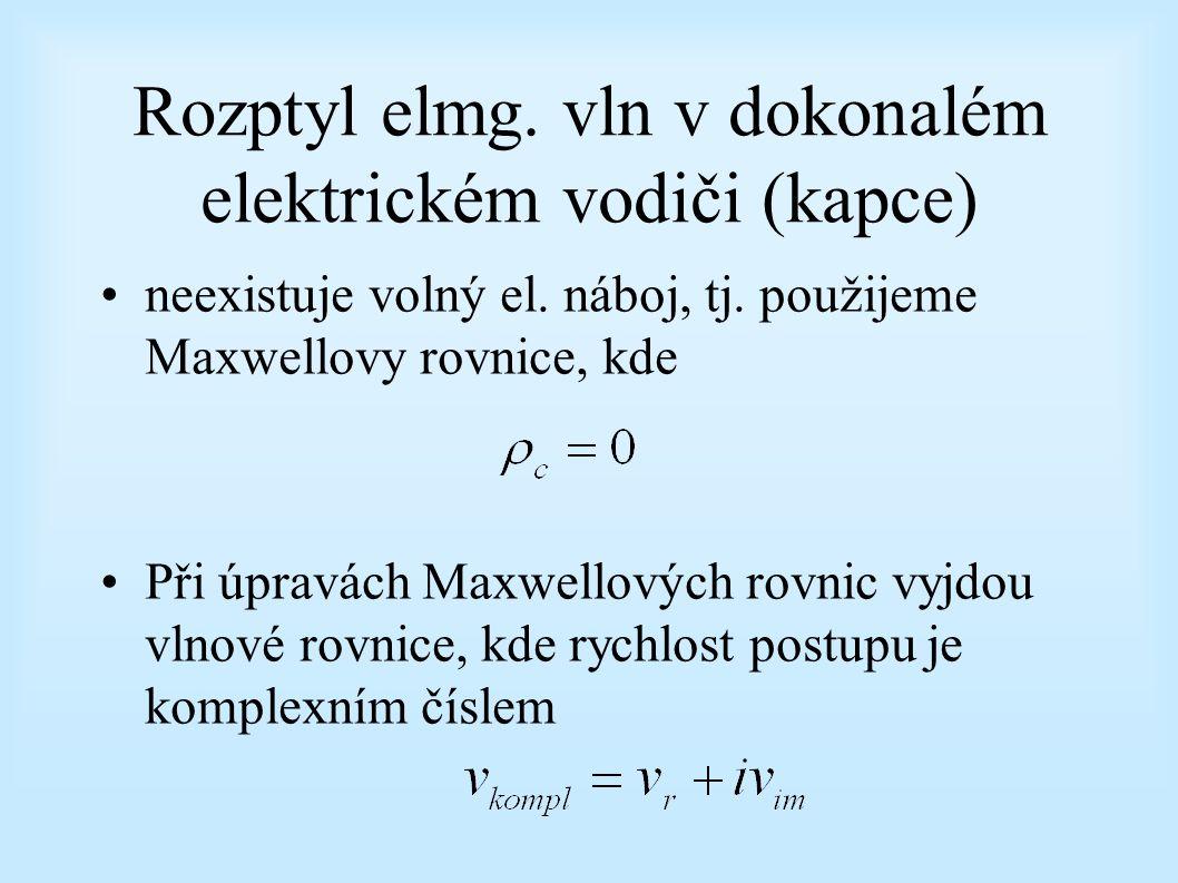 Rozptyl elmg. vln v dokonalém elektrickém vodiči (kapce)